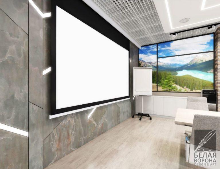 Интерьер конференц зала в помещении с большими окнами 2