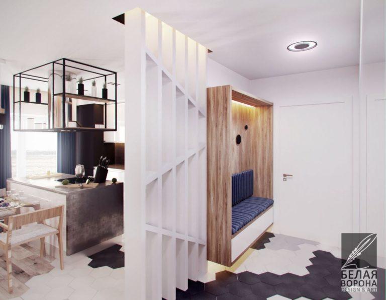 Перегородка разделяющая пространство в современном дизайн-проекте