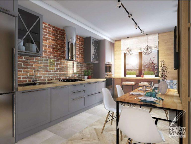 Дизайн-проект кухни совмещённой со столовой в интерьере современной квартиры