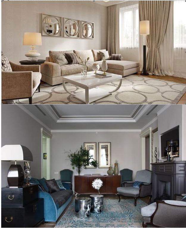 Пример дизайн проекта в стиле неоклассика, (два варианта) выполненные в светлых/тёмных тонах.