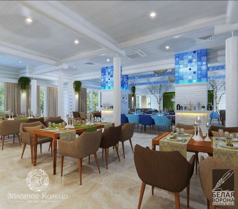 Пространство зала ресторана в дизайн-проекте.