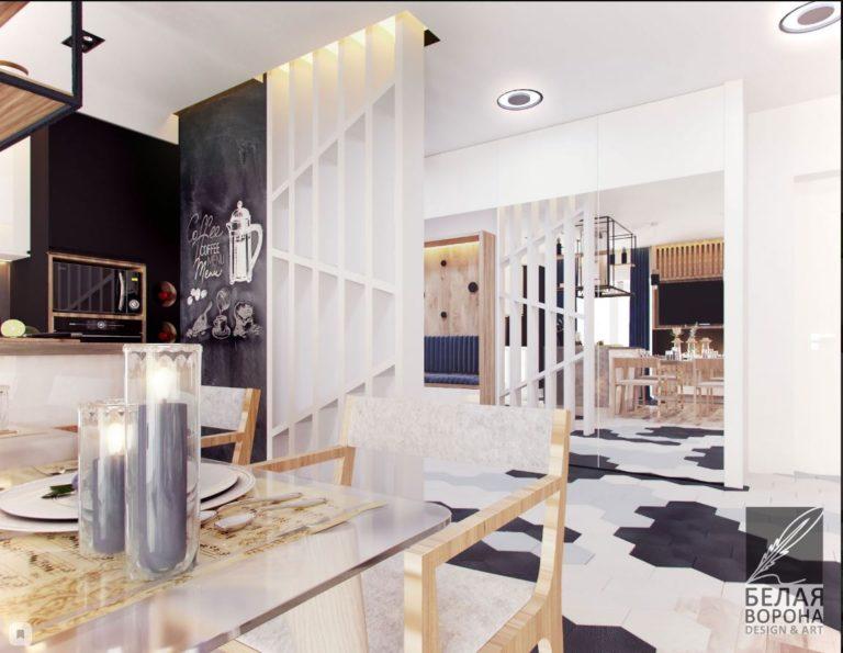 Кухня совмещённая со столовой. Дизайнерский проект для квартиры студии