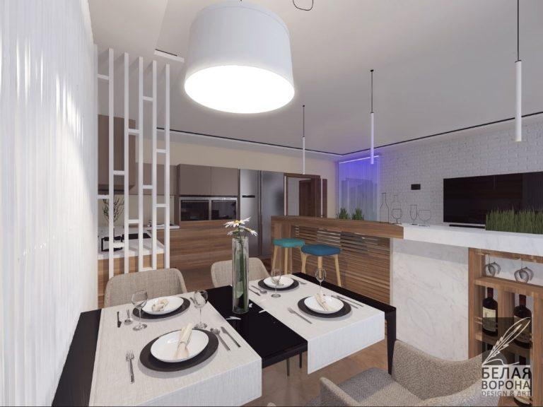 Зона столовой в монохроме в современном квартире по дизайн-проекту
