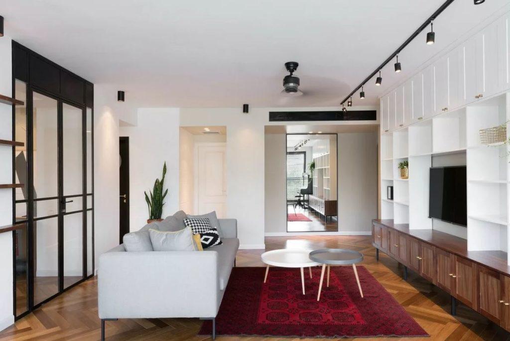 Гостиная в стиле баухаус в интерьере небольшой квартиры