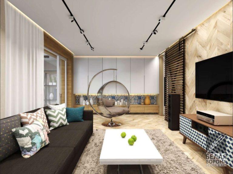 гостинная с современной мебелью в интерьере квартиры по дизайн-проекту 2020