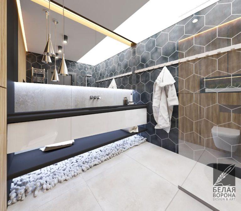 Ванная в современном интерьере. Дизайн. проект в светлых тонах