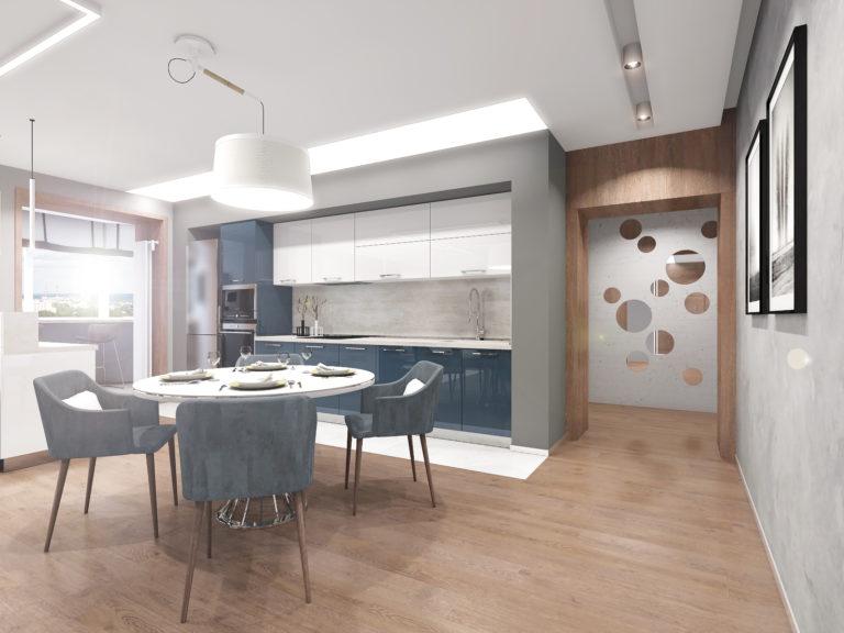 Дизайн интерьера 4-х комнатной квартиры «Серебро»