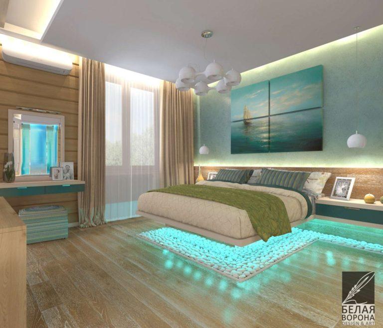 Спальня в современном интерьере с подсветкой и сочетанием ярких цветов с нейтральными