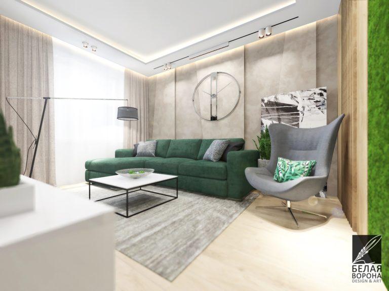 Изумруд- яркий цветовой акцент в современном проекта дизайнера интерьера