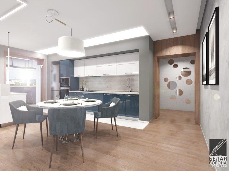 дизайн интерьера кухни совмещённой со столовой с применением цветовых акцентов