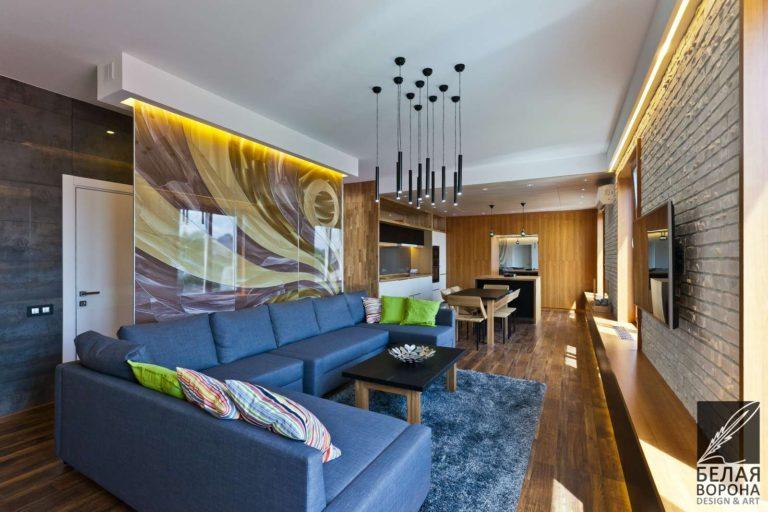 дизайн проект гостиной в с применением лёгких цветовых акцентов и ярких цветовых пятен