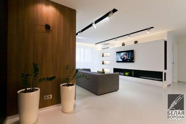 дизайн интерьер коридора в контраста тёплых и холодных тонов