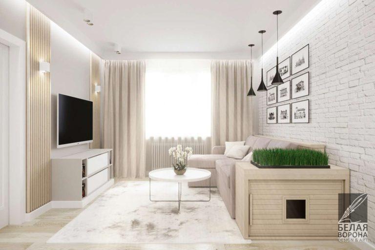 дизайн интерьера гостиной в современном стиле лофт