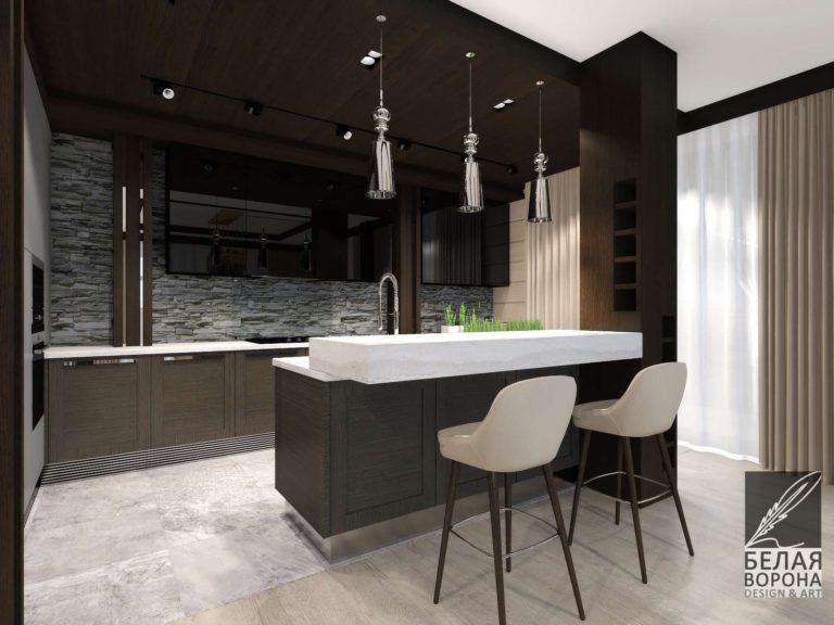 дизайн интерьера кухни в современном интерьере. Кухня в тёмных тонах .