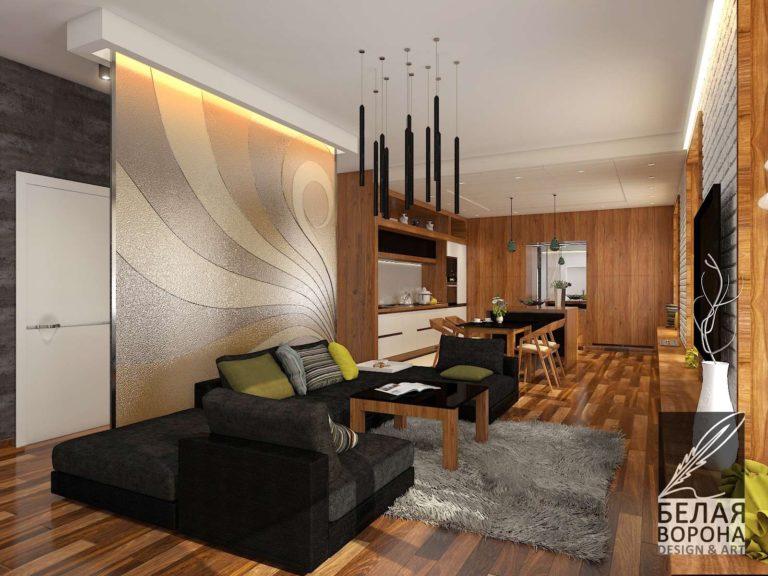Дизайн-проект гостинной. Сочетание фактур и цветовых пятен