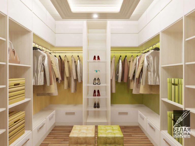 Дизайнерский проект гардеробного помещения в оттенках зелёного в современном интерьере