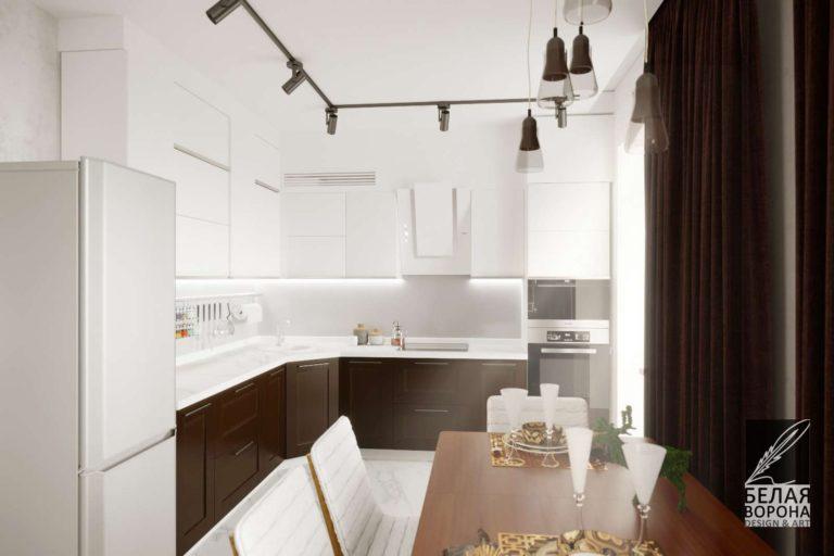 Столовая в светлых тонах, совмещённая с кухней. Дизайн-проект С тёмными элементами дерева