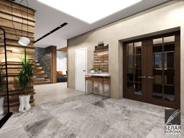 дизайн-проект интерьера холла в светлых тонах с сочетанием фактур