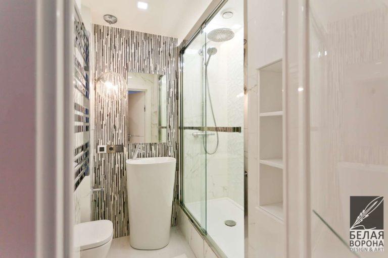 дизайн интерьер ванной в с применением лёгких цветовых акцентов и фактур