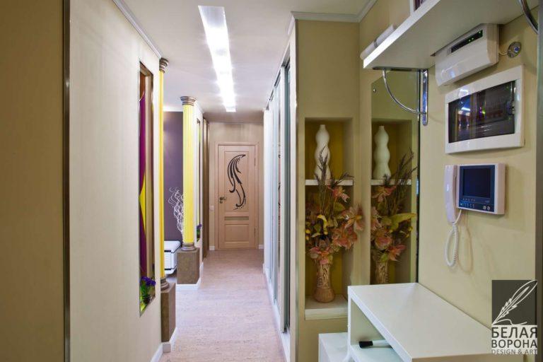 дизайн интерьер холла в светлых тонах