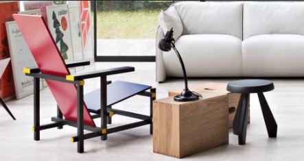 Кресло Пита Мондриана в интерьере гостиной, мебель стиля баухаус