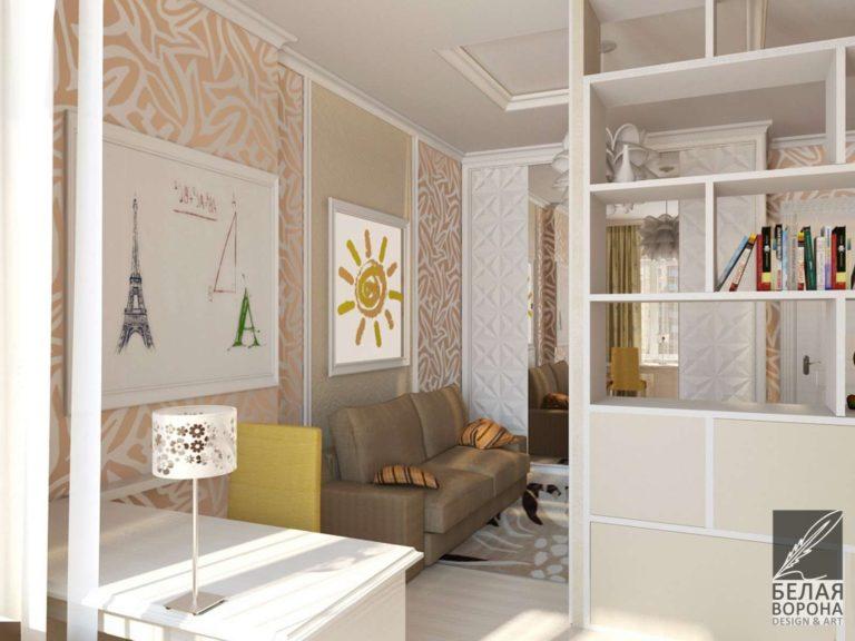дизайн интерьера комнаты в с применением мягких цветовых акцентов