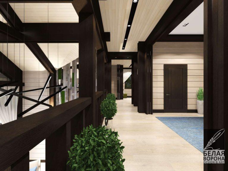 коридор второго этажа. Дизайнерский проект во Владимире