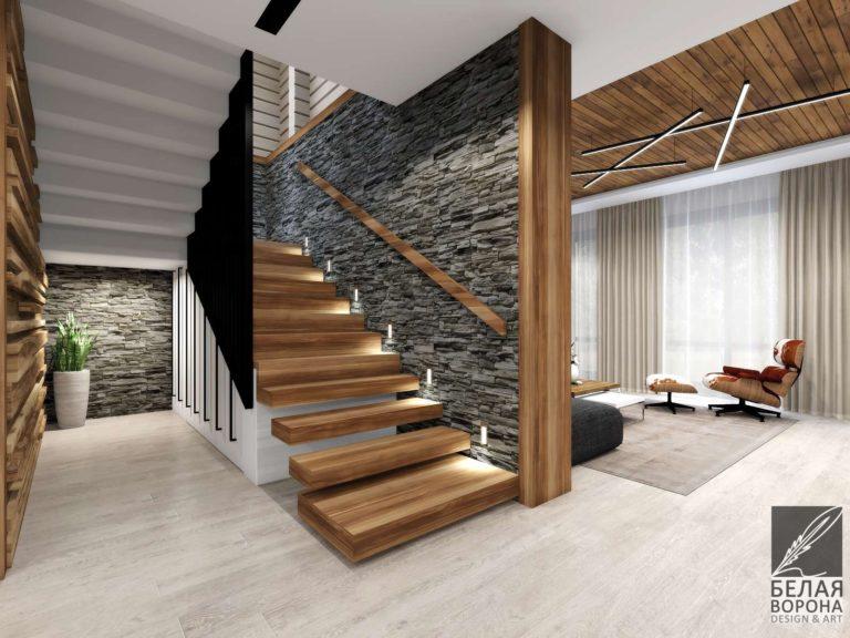 Дизайн-проект лестницы в современном интерьере