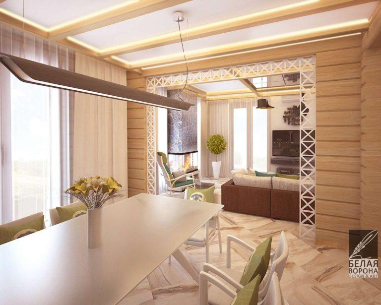 Столовая с деревянными элементами в качестве отделки