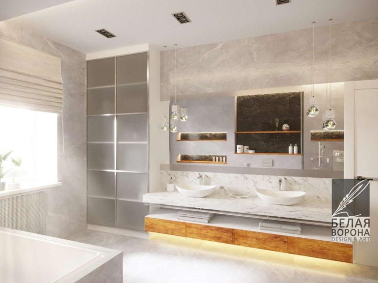 Дизайнерский проект ванной комнаты в современном интерьере