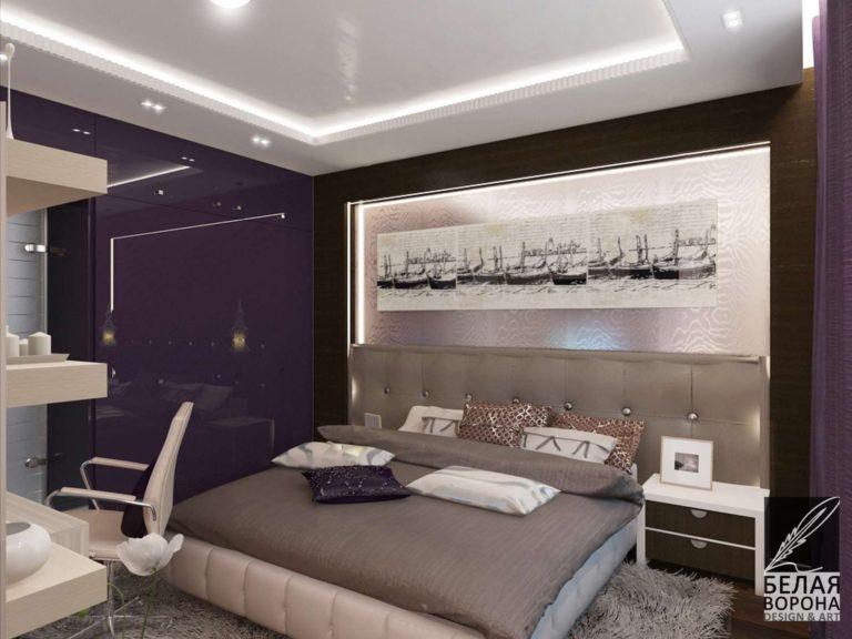 дизайн интерьера спальни в с применением как нейтральных так и цветовых акцентов