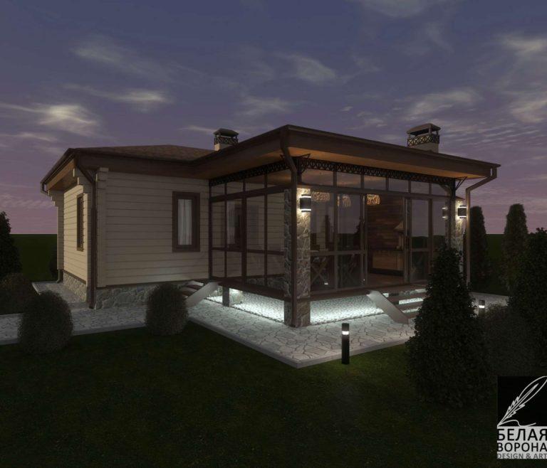 дизайн дизайн-проект экстерьера дома из бруса в вечернем освещении