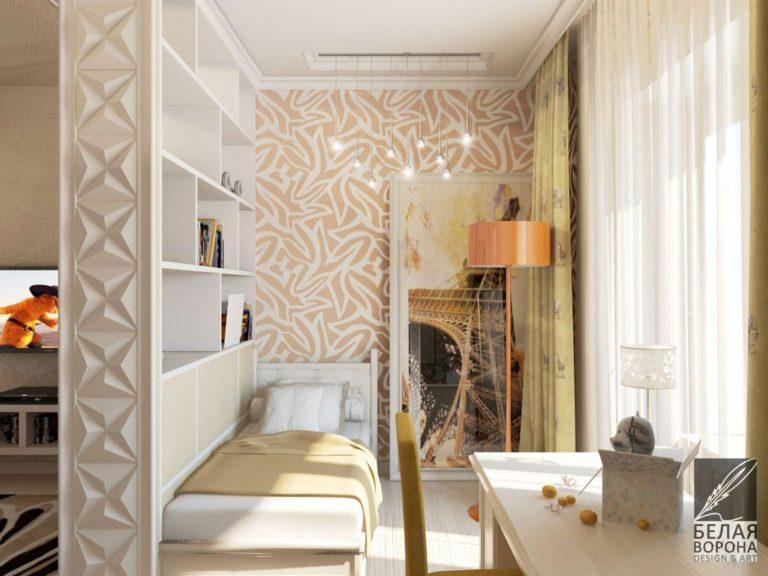 дизайн интерьера комнаты в с применением с применением тепло-холодной гаммы