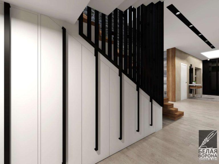 Дизайнерский проект лестницы в современном интерьере