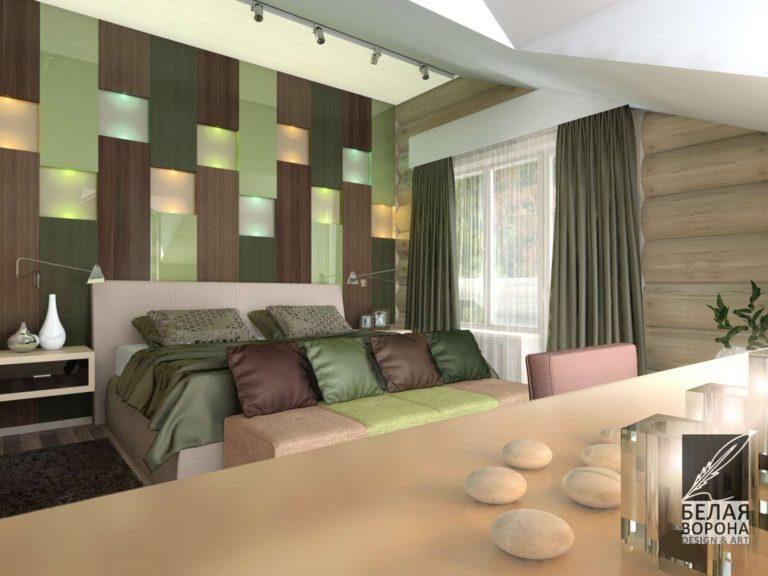 Спальня в нейтральных тонах с элементами выполненными в зелёных оттенках