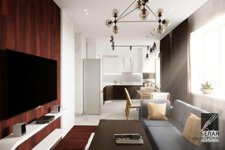 Гостинная в светлых тонах в дизайн-проекте интерьера. В качестве декора применены элементы из дерева
