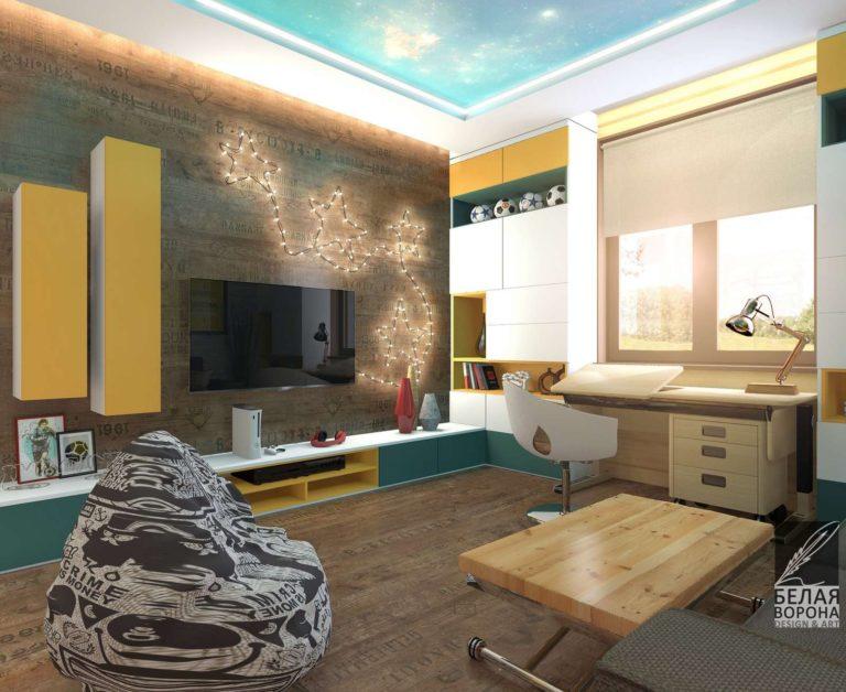Детская комната выполненная в светлых тонах с яркими цветовыми акцентами