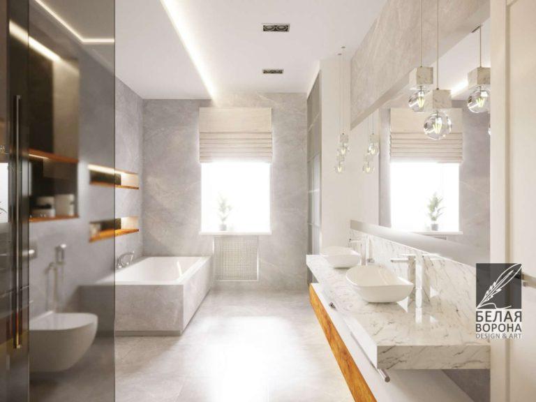Дизайн-проект ванной комнаты. отделка мраморной плиткой в светлых тонах