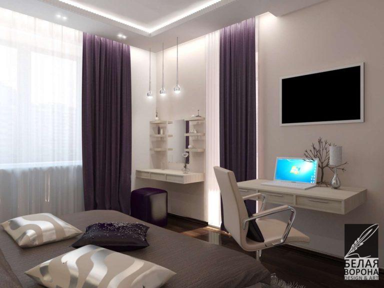 дизайн проект спальни в с применением цветовых акцентов рабочая зона в светлых тонах