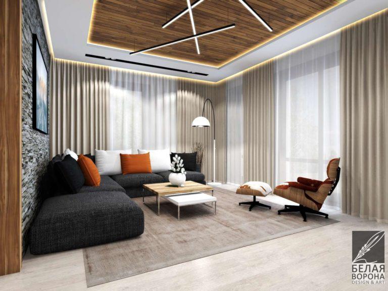 дизайн интерьера комнаты в с применением цветовых акцентов Гостиннай комната в современном интерьере