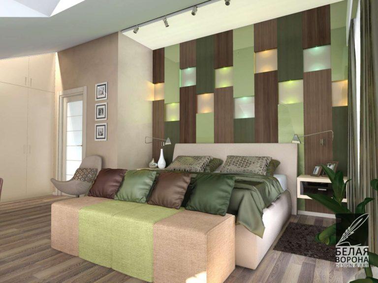 Декоративное украшение стены в дизайнерском проекте