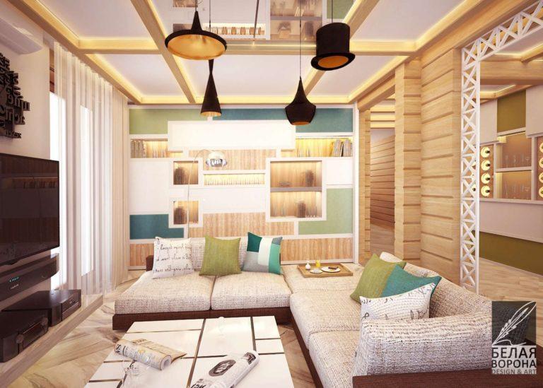 Дизайн-проект гостинной с яркими элементами и деревянной отделкойГостинная в современном интерьере. Мебель для гостинной