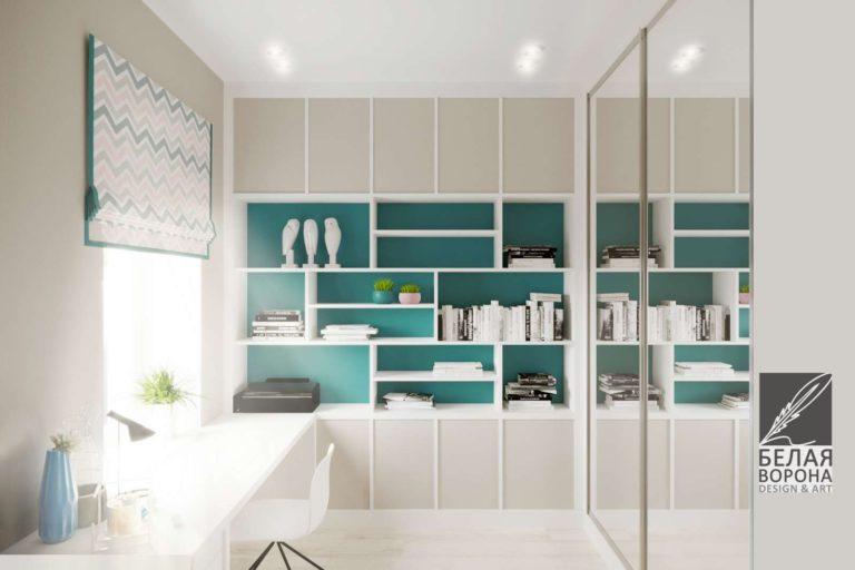 Дизайн интерьера рабочей зоны в светлых тонах авангард
