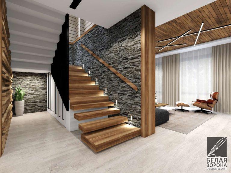 Лестница выполненная по дизайнерскому проекту сочетание фактур дерева, камня и металла в интерьере