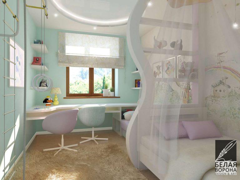 Дизайнерский проект интерьера детской комнаты
