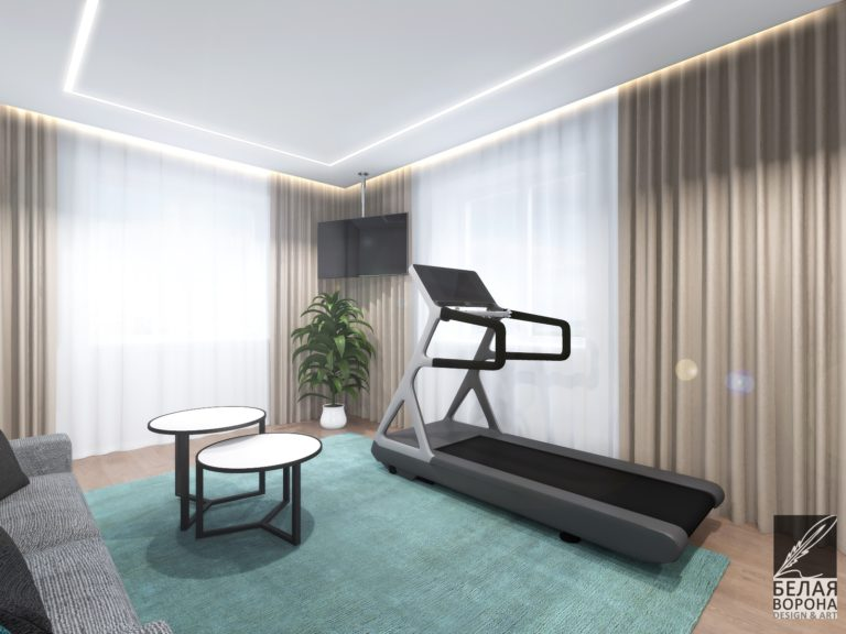 Совмещение спортивной зоны с зоной отдыха в современном дизайне интерьера