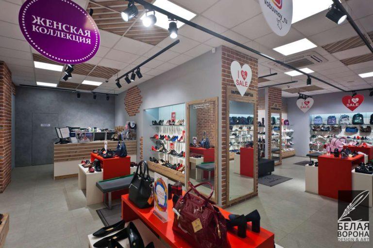 дизайн проект отдела магазина обуви в с применением лёгких цветовых акцентов