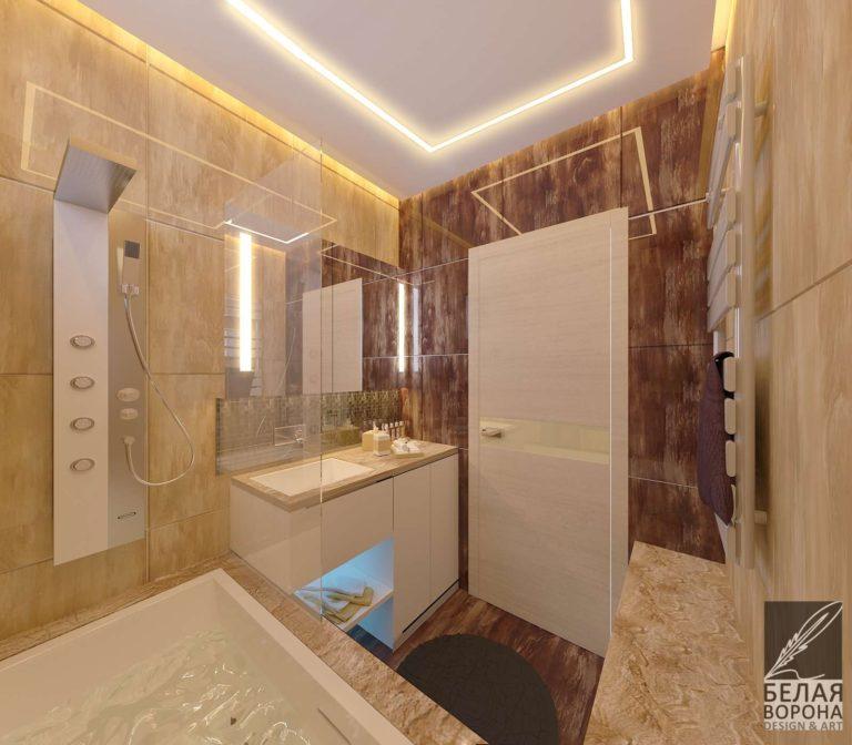 дизайн интерьера ванной в светлых тонах