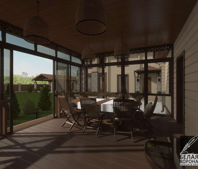 Экстерьер дачного дома из бркса. эестерьер летней веранды в дневном освещении