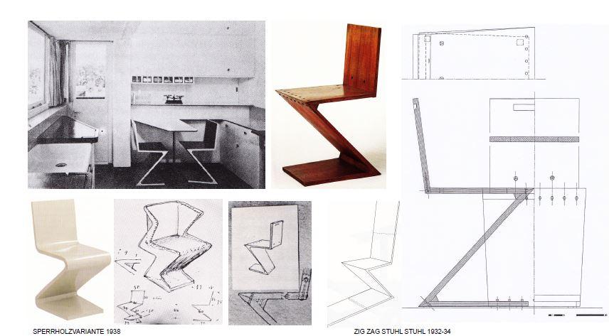 Стул зиг-заг в интерьере, мебель стиля баухаус